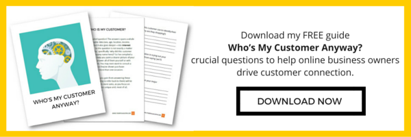 Download my FREE PDF guide 'Who's My Customer Anyway?' crucial questions to help online business owners drive customer connection.
